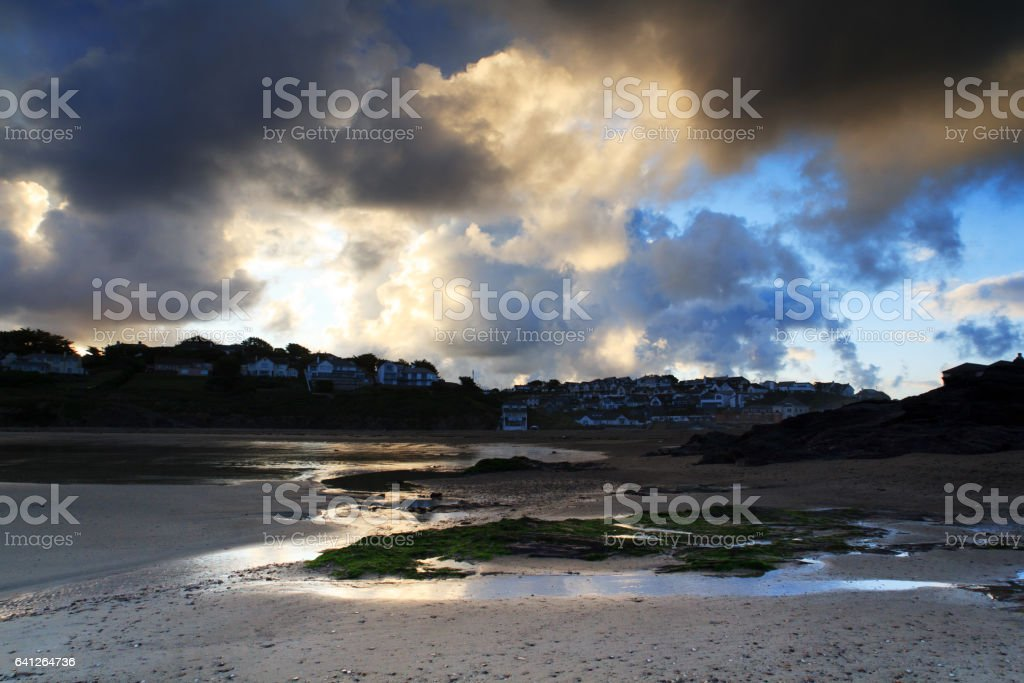 Early morning view of the beach at Polzeath stock photo