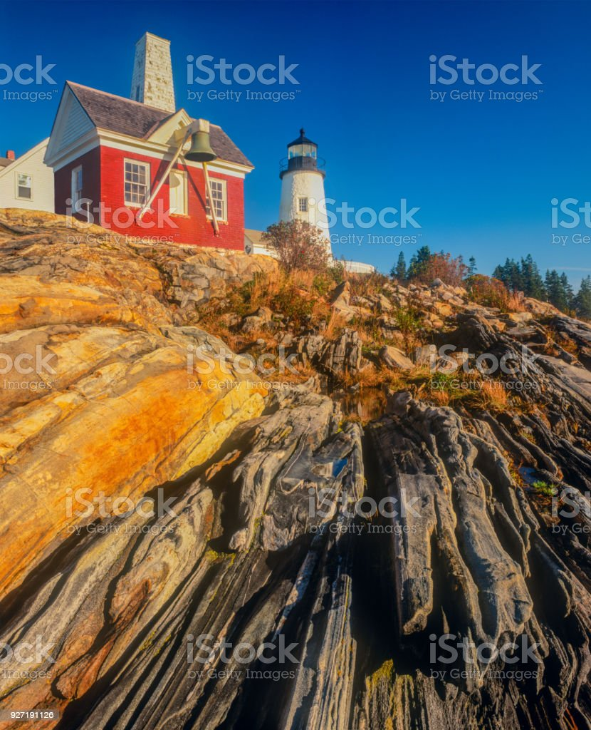 Early morning view of the lighthouse at Pemaquid Point, Maine stock photo