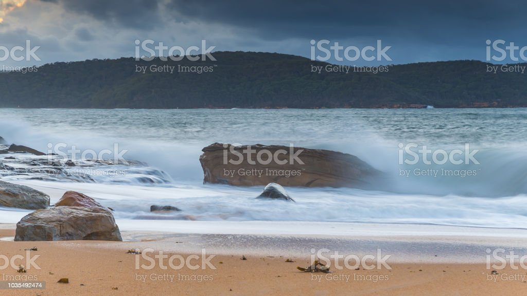 Early Morning Wild Seas with Clouds stock photo