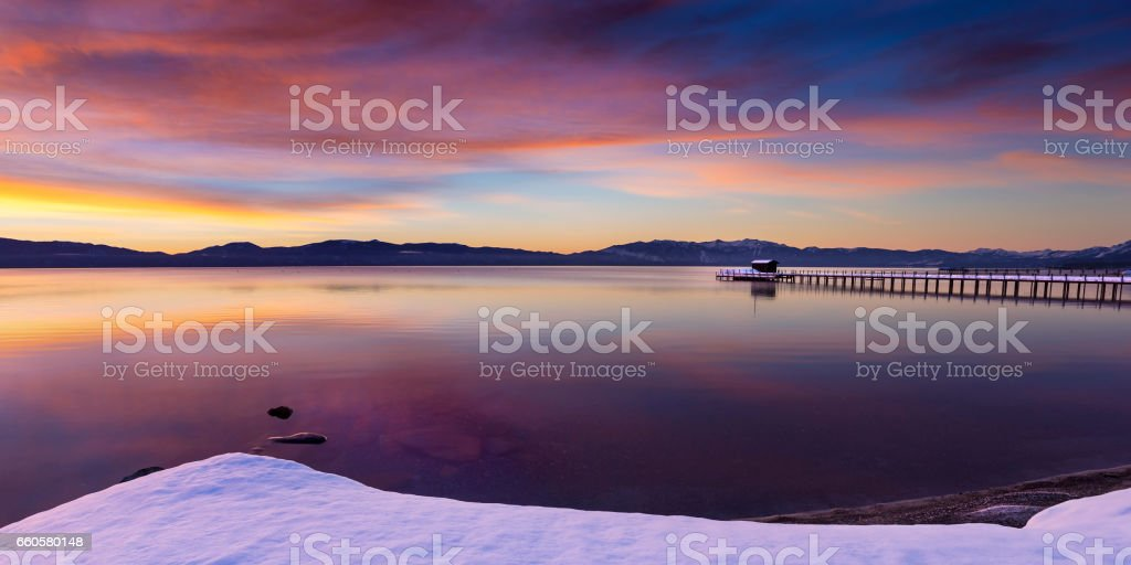 Early morning winter sunrise at Commons Beach in Tahoe City, California, Lake Tahoe. stock photo
