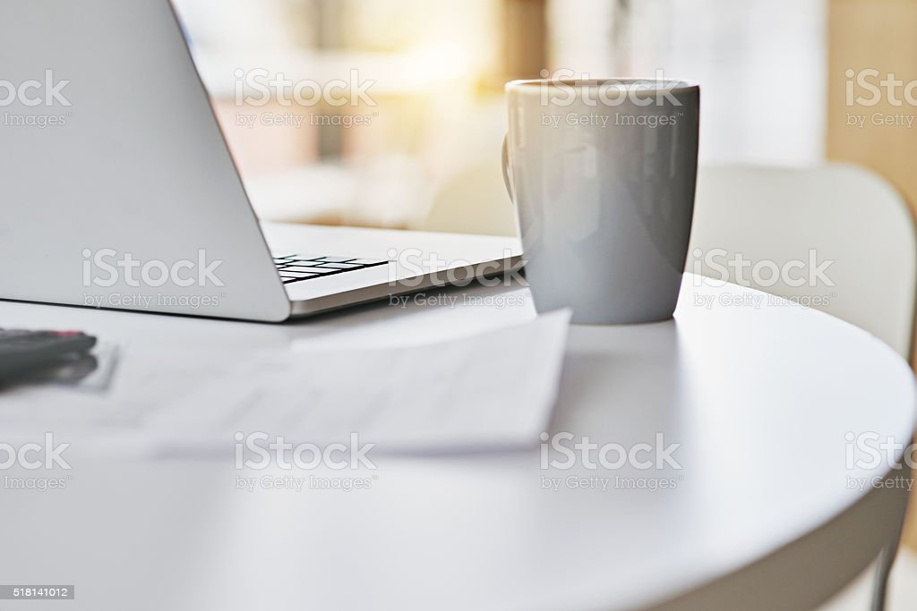 Early mornings in the office stock photo