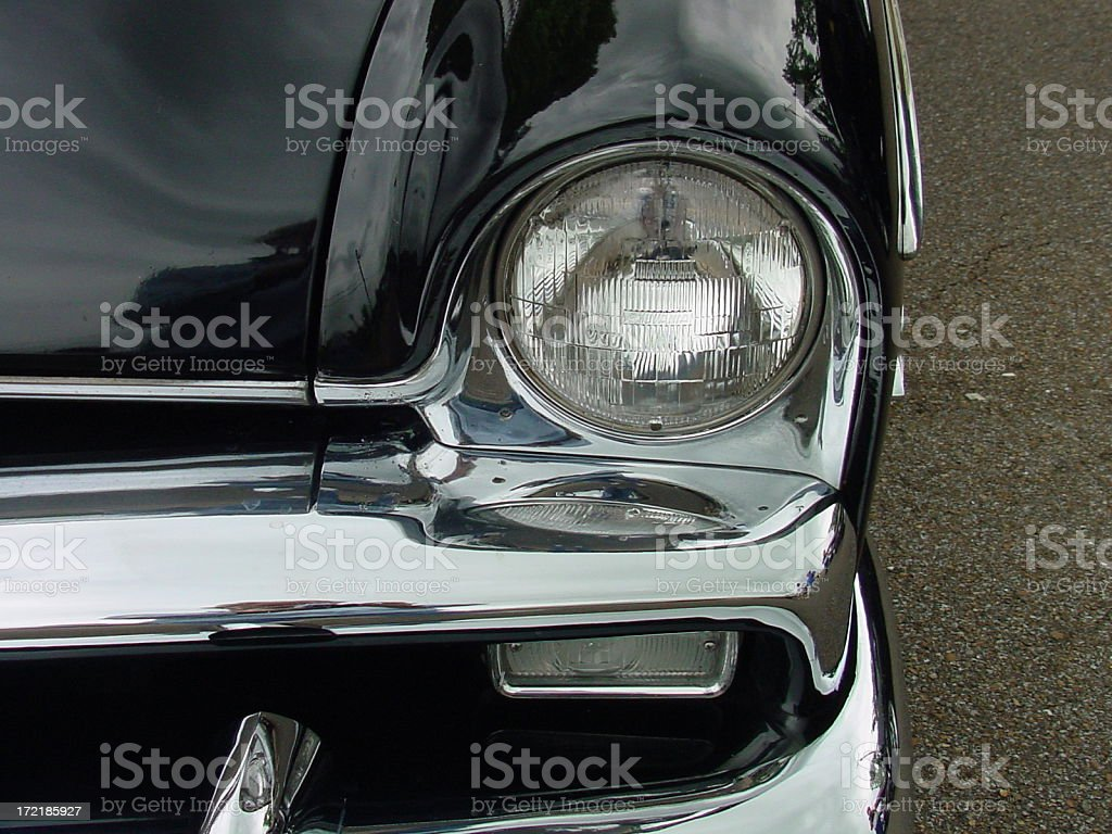 Early Plymouth Headlight and Grill stock photo