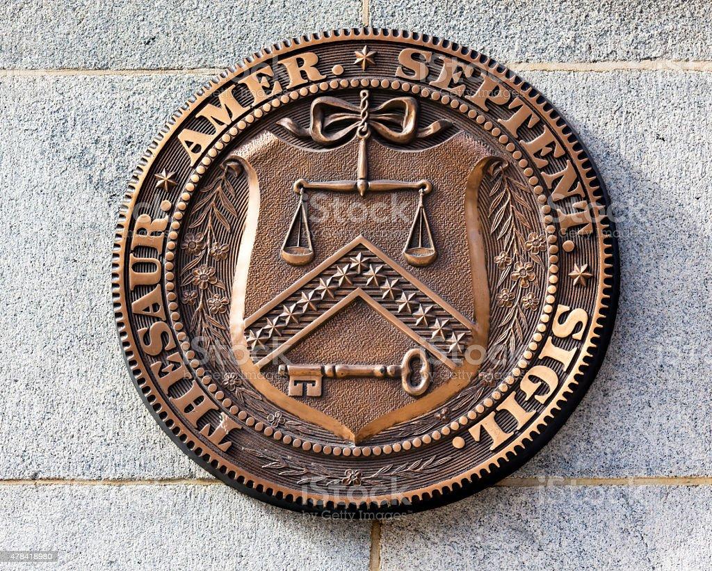 Early Seal Sign Symbol US Treasury Department Washington DC stock photo