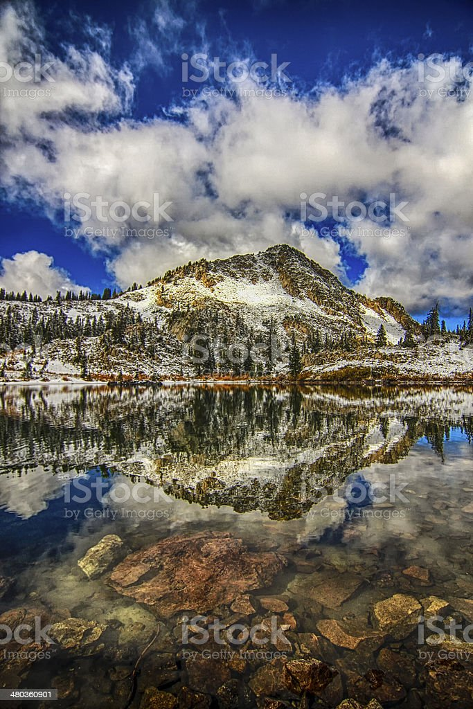 Early Snow on Lake Cathrine stock photo