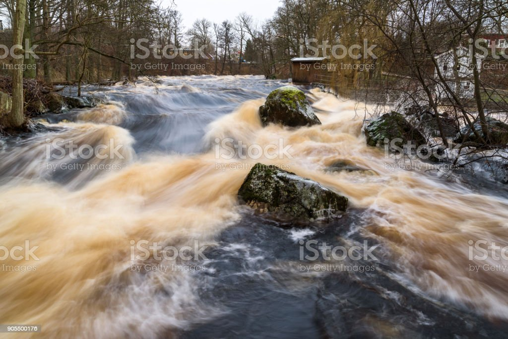 Early spring flood stock photo