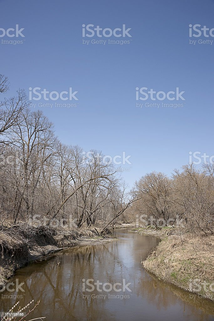 early spring meandering river scenic royalty-free stock photo