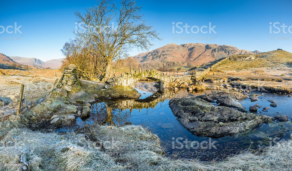 Early spring morning at Slaters Bridge in the Lake District stock photo