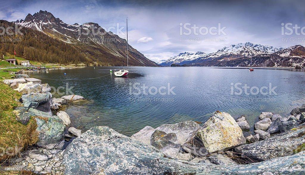 Early Spring on the lake Lej da Segl. stock photo