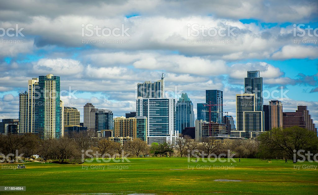 Early Spring Zilker Park Austin Texas 2016 Skyline Cityscape stock photo
