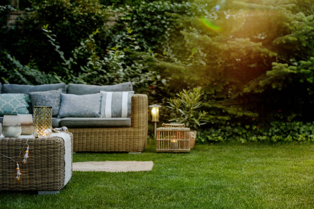 Early summer evening in the garden of single family home stock photo