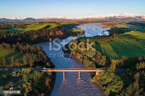 Sunrise over Waimakariri River, South Island, New Zealand.