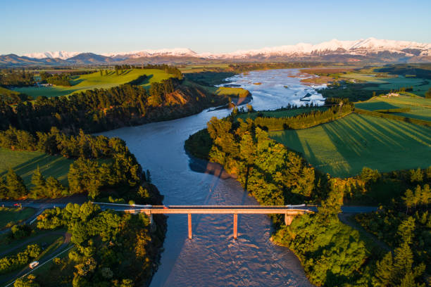 Early sunlight over Waimakariri River. stock photo