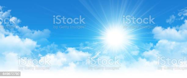 Photo of Early sunshine in a cloudy blue sky