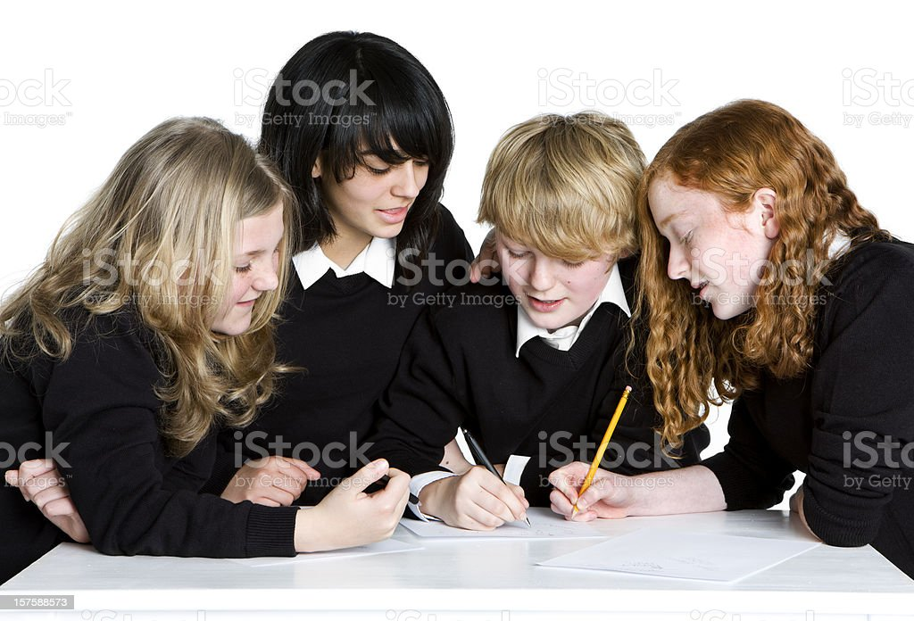 early teen students: group project royalty-free stock photo