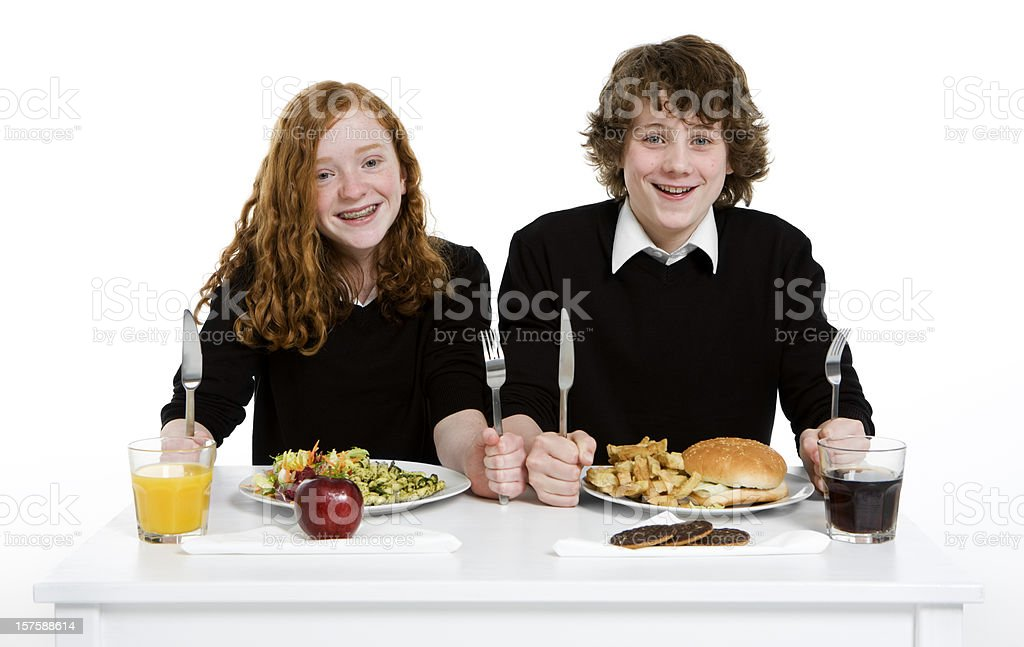 early teen students: school lunch royalty-free stock photo