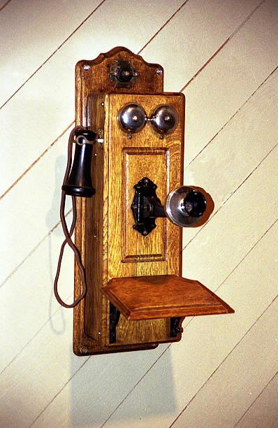 Early wall telephone stock photo