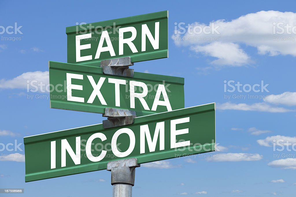 Earn Extra Income Street Sign royalty-free stock photo
