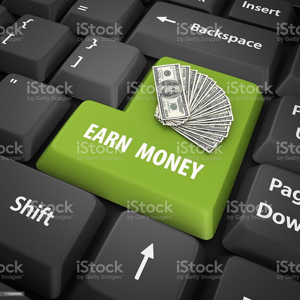 earn money enter key stock photo