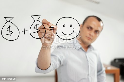 Businessman drawing dollar piles and happy face chart.