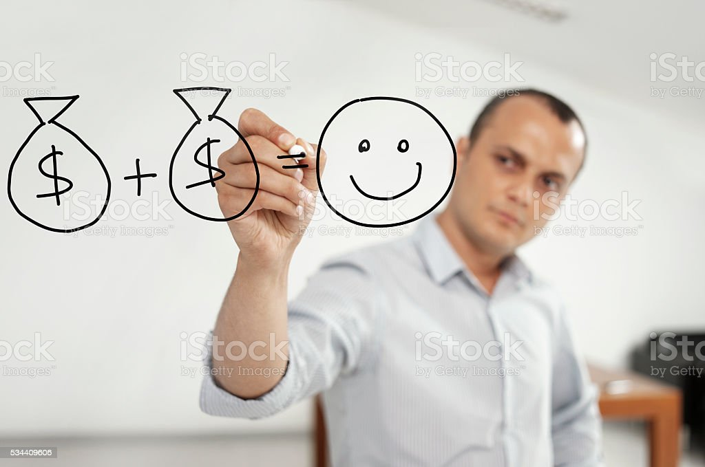 Earn your happiness stock photo