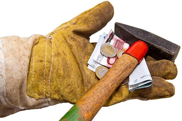 Einnahmen Konzept-Geld und Hilfsmittel in Handschuhe – Foto