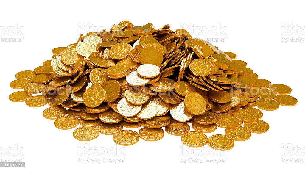 Earnings. Heap of golden coins isolated royalty-free stock photo