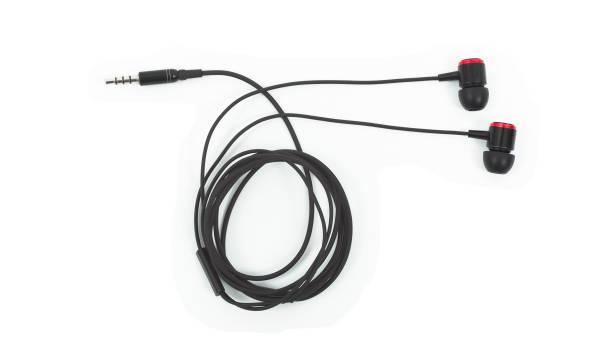 oreillette, isolé sur blanc - écouteurs intra auriculaires photos et images de collection
