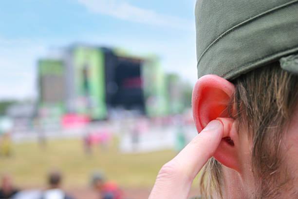 Earplugs at a music festival stock photo