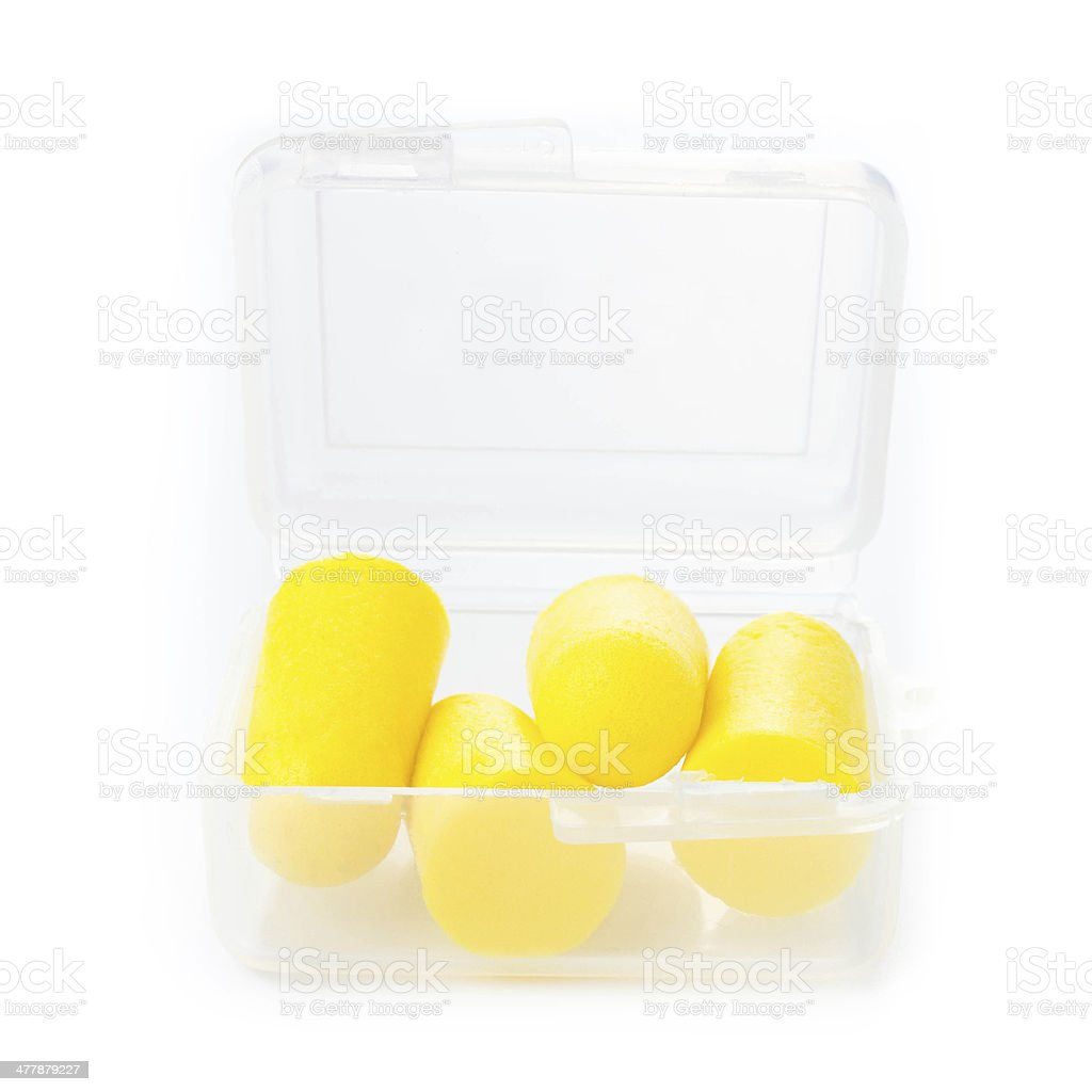 Earplugs in a box for careful storage. Ear noise control stock photo