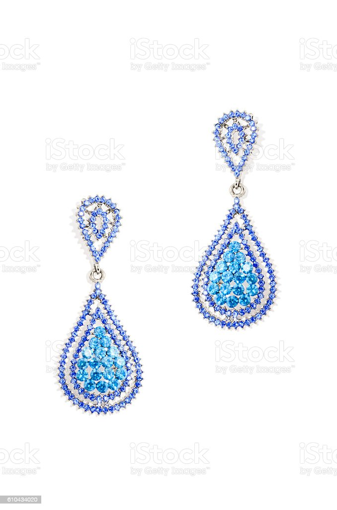 earrings drops on a white background stock photo