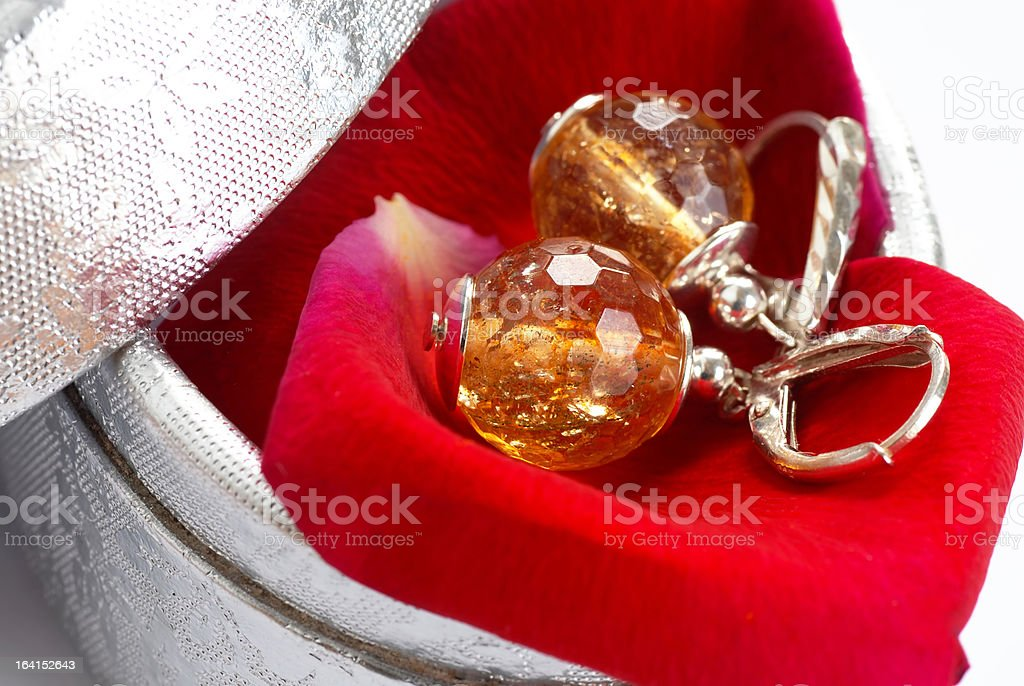 Earrings in gift box royalty-free stock photo
