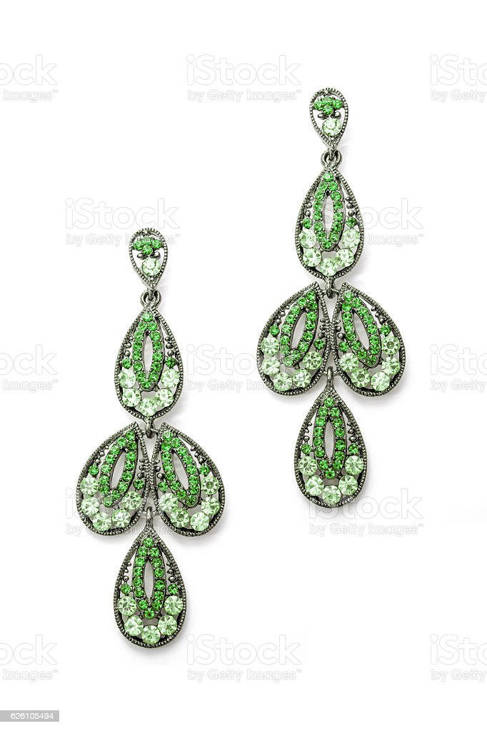 earrings in the shape of the leaves stock photo