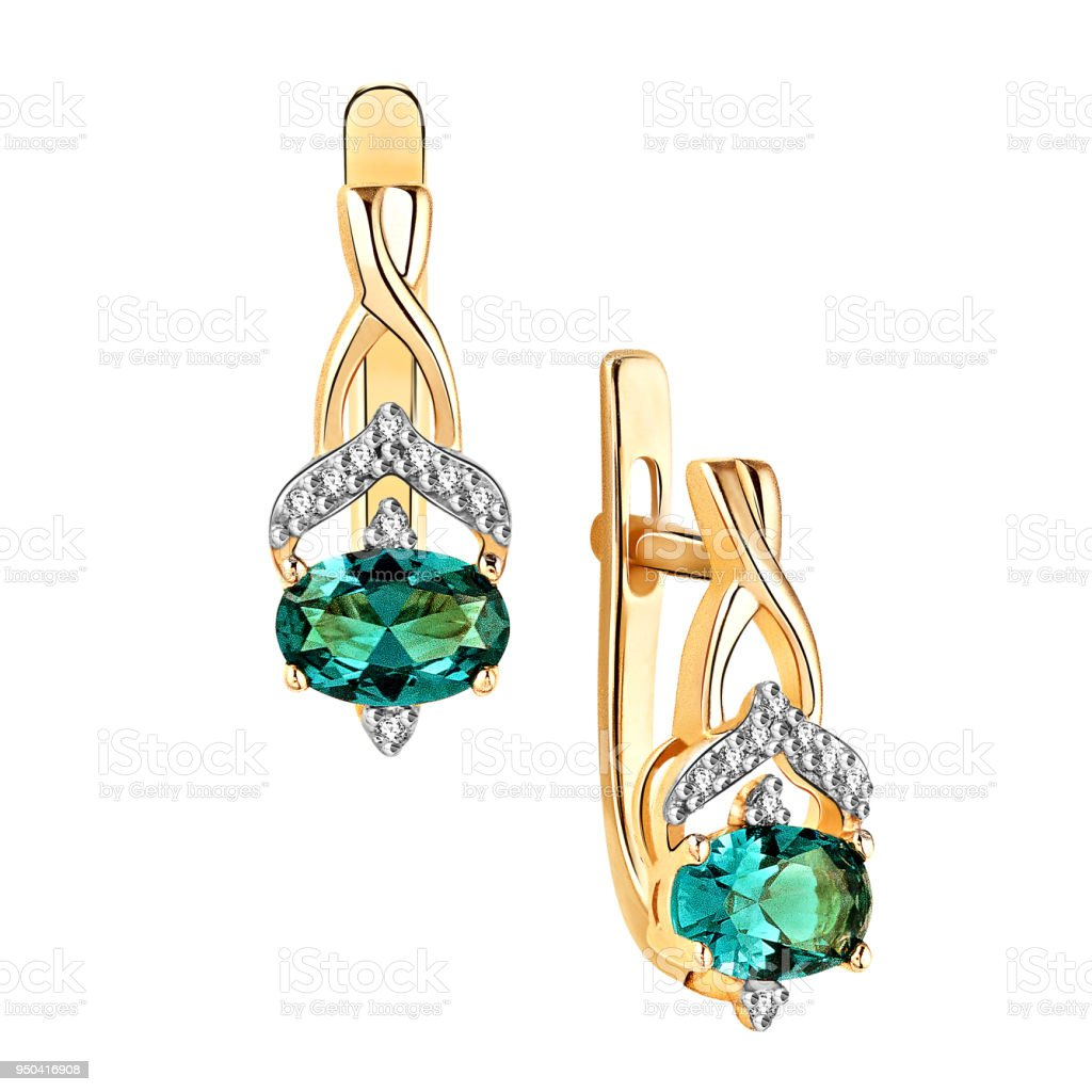 Earrings of gold with diamonds and amethyst (on white background) stock photo