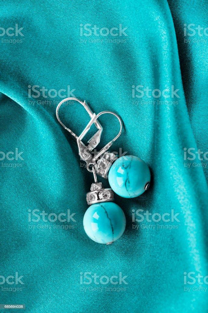 Earrings on silk Lizenzfreies stock-foto