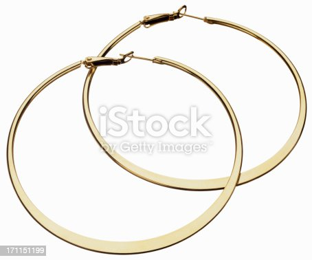 gold circle earrings isolated on white background