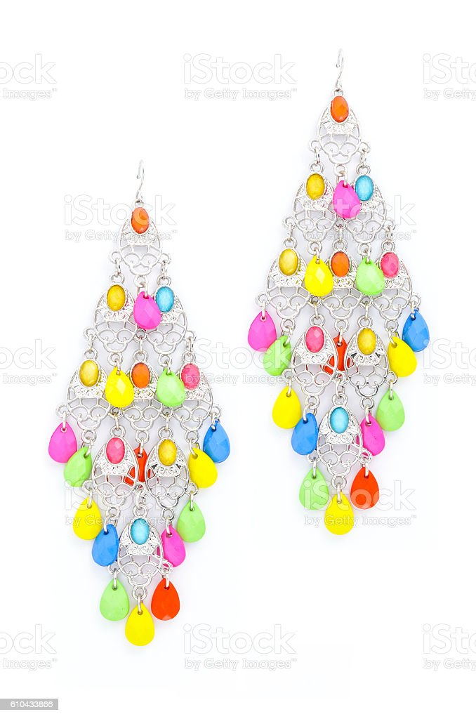 earrings with beads on a white background stock photo
