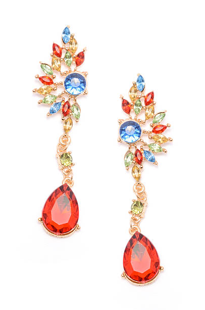 earrings with colored stones isolated on white - ohrringe tropfen stock-fotos und bilder