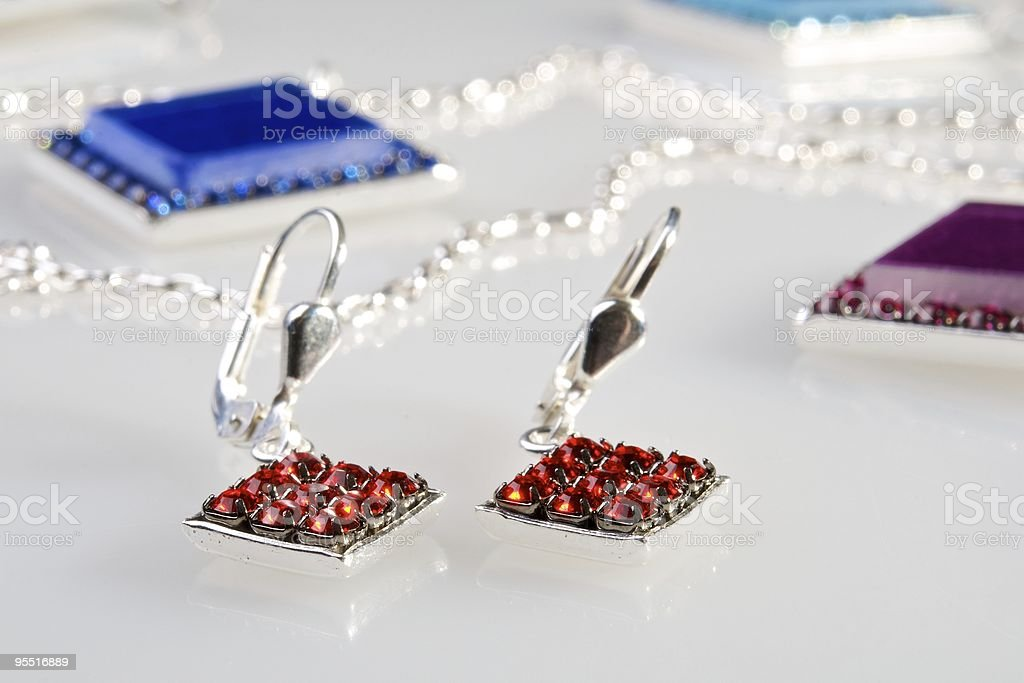 Earrings with diamonds royalty-free stock photo