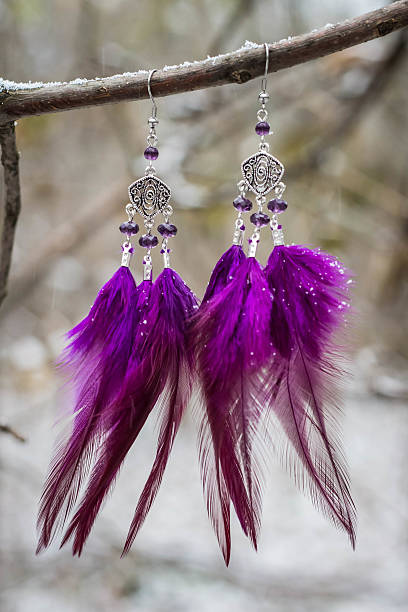 earrings with feathers on the branch - federohrringe stock-fotos und bilder