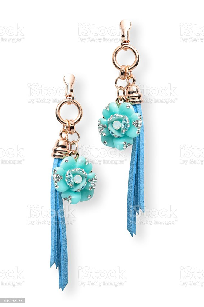 earrings with flowers stock photo