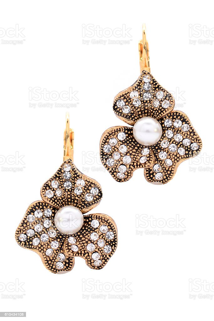 earrings with pearls stock photo
