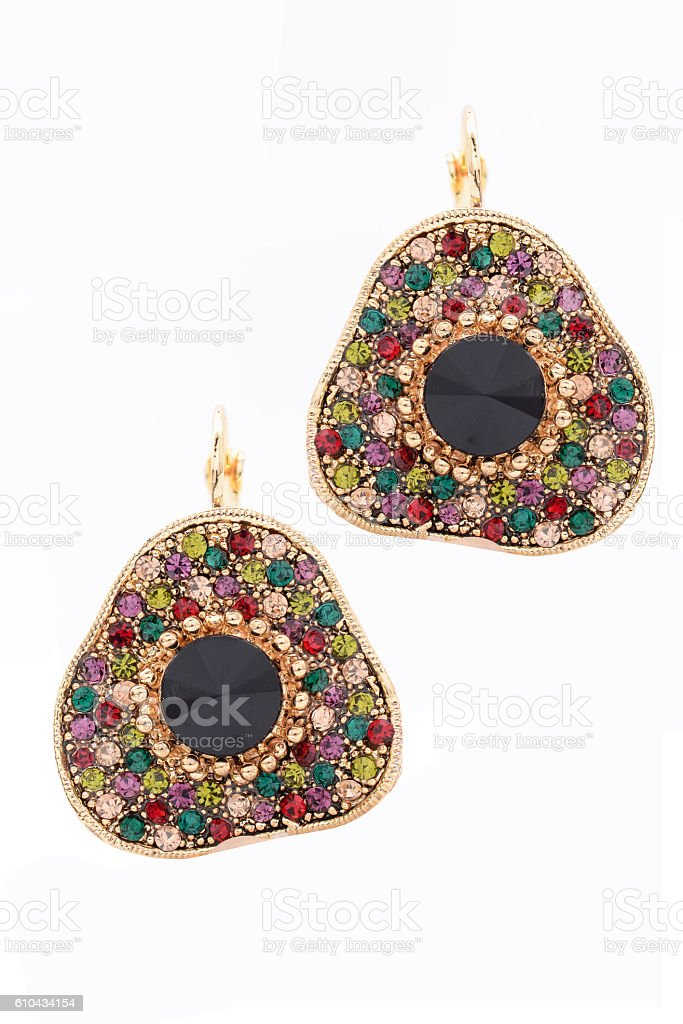earrings with precious stones stock photo