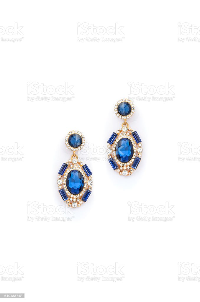 earrings with sapphire  on white background stock photo