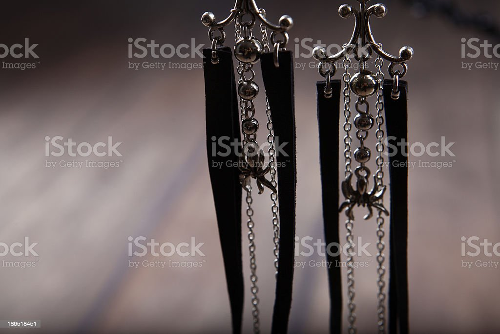 earrings with spiders royalty-free stock photo