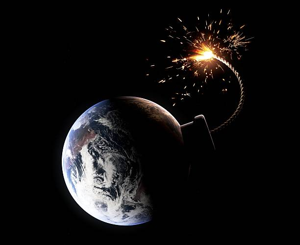 Earth about to explode (Doomsday concept) stock photo