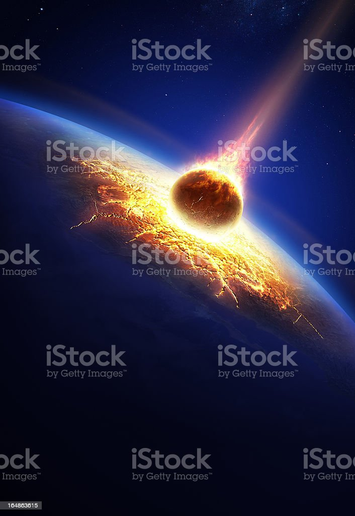 Earth and asteroid colliding stock photo