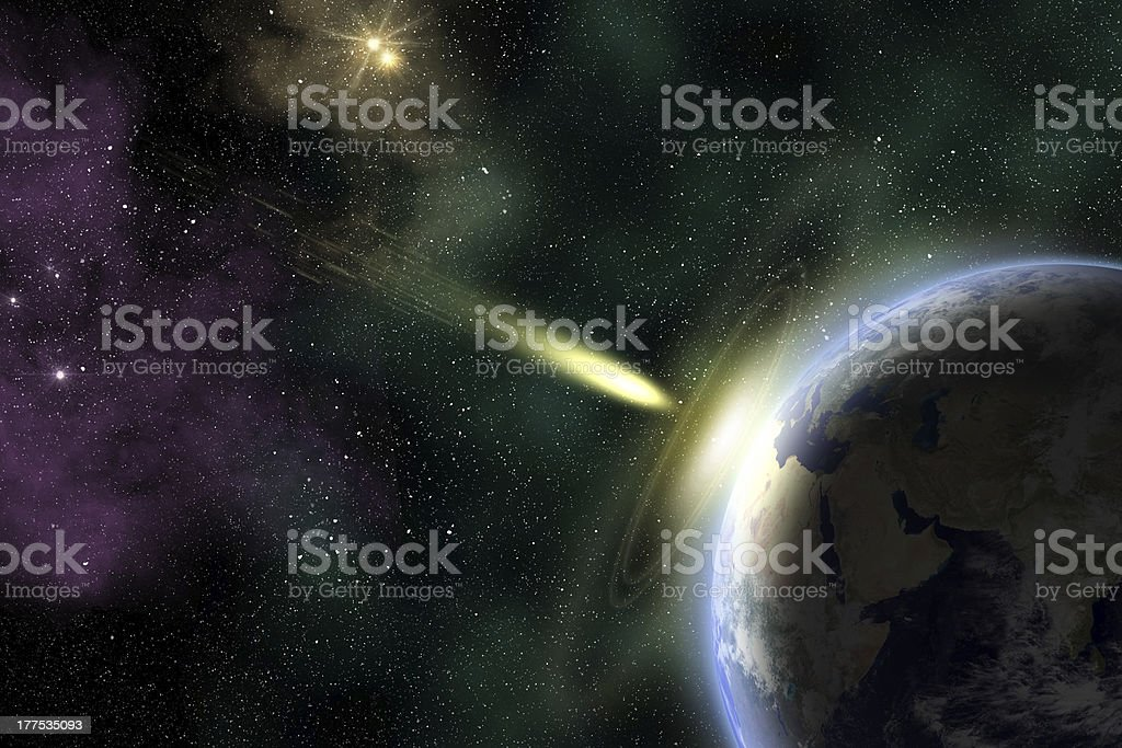 Earth and asteroid stock photo