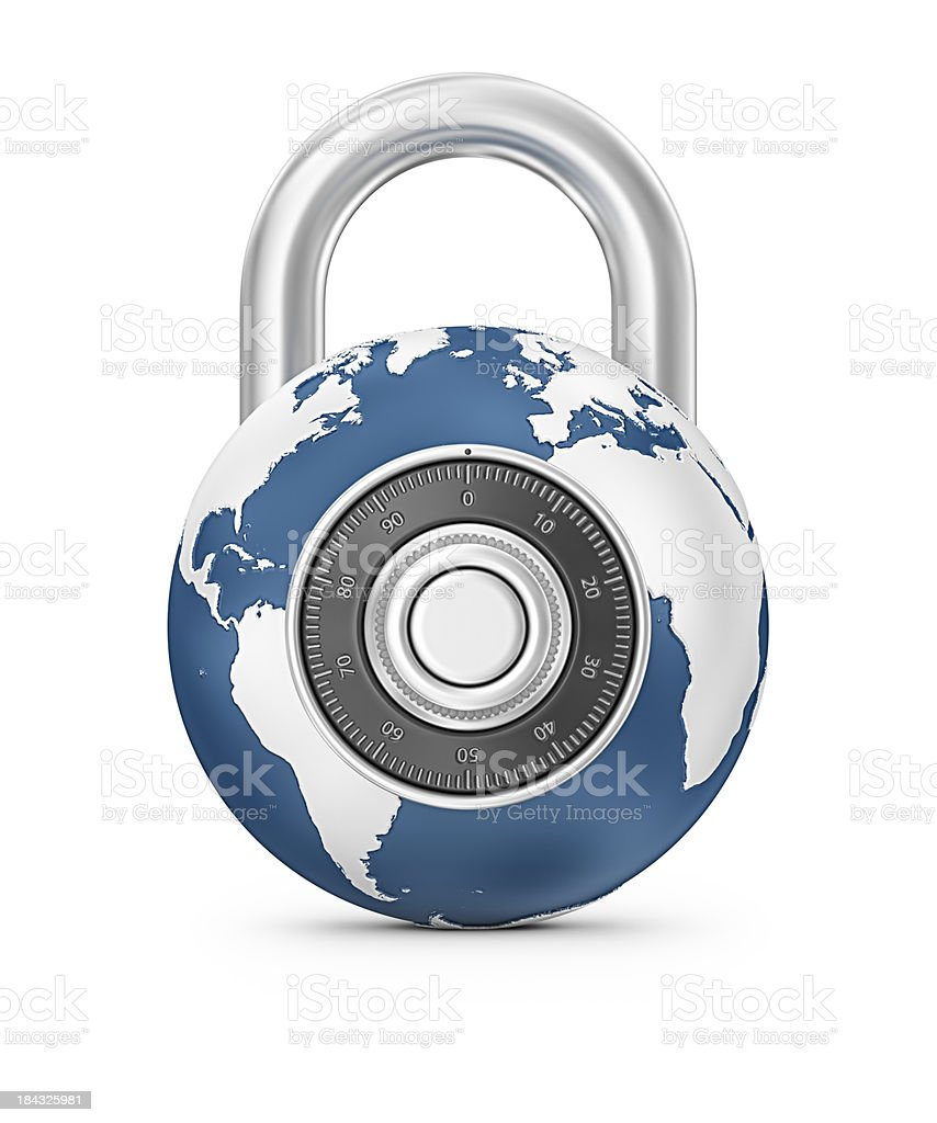 earth and combination lock royalty-free stock photo