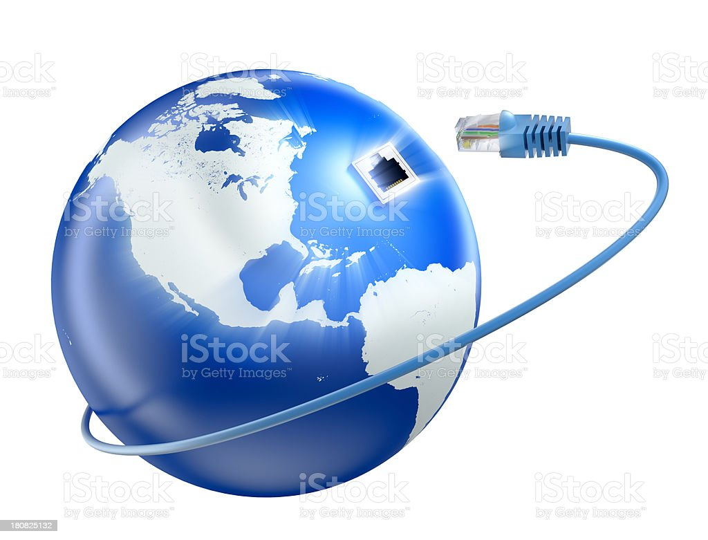 Earth and ethernet cable - isolated with clipping path royalty-free stock photo