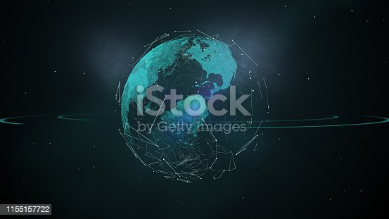 istock Earth and flight routes around the planet covered with nebula on dark space. 1155157722